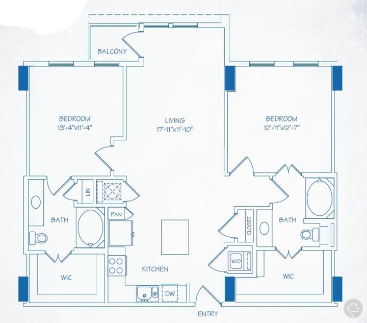 2/2 1178 sqft floor plan