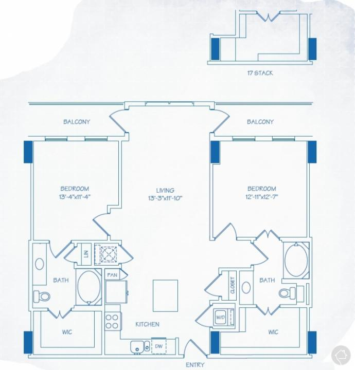 2/2 1183 sqft floor plan