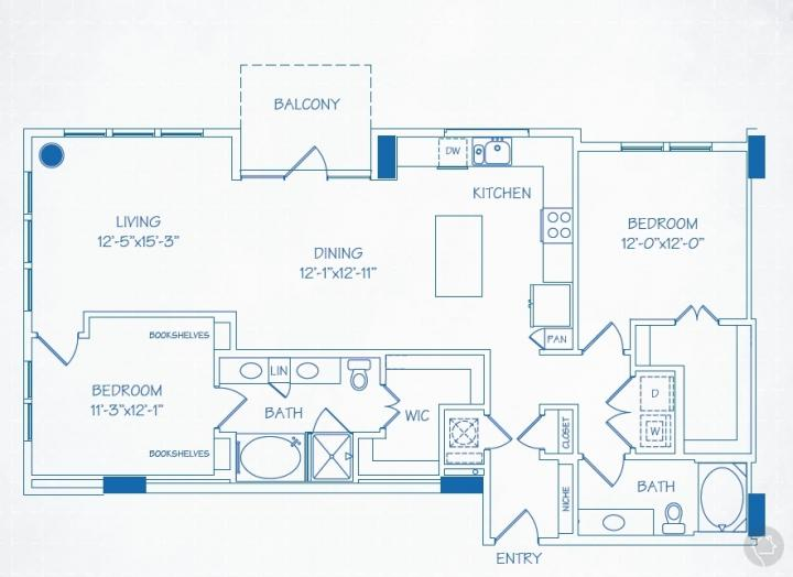 2/2 1432 sqft floor plan
