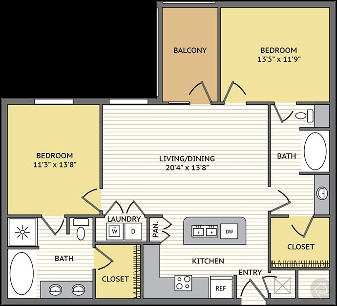 2/2 1152 sqft floor plan