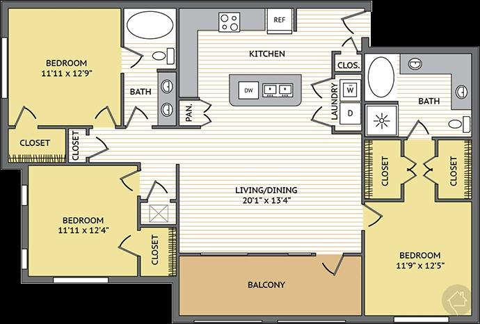 3/2 1480 sqft floor plan
