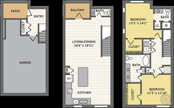 2/2.5 1583 sqft floor plan