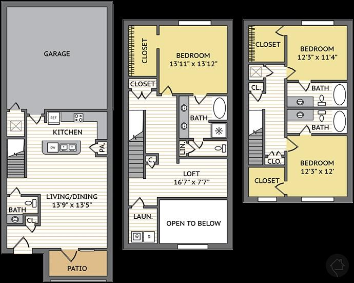 3/2.5 2136 sqft floor plan