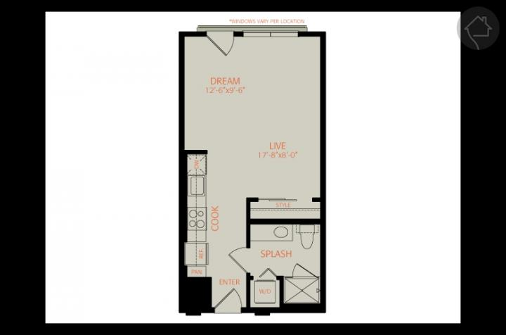 0/1 483 sqft floor plan