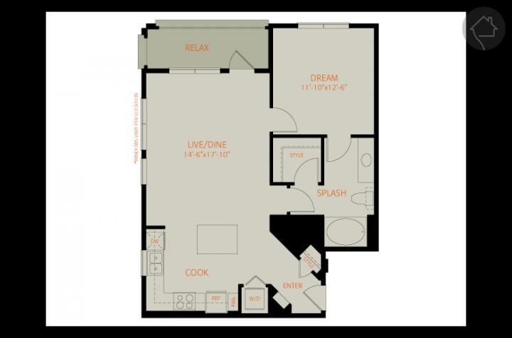 1/1 817 sqft floor plan