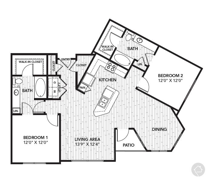 2/2 1239 sqft floor plan