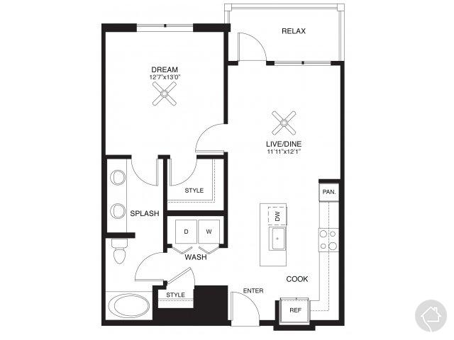 1/1 768 sqft floor plan