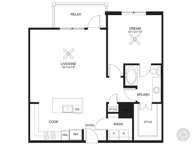 1/1 966 sqft floor plan
