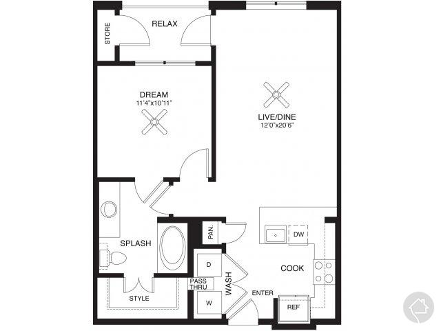 1/1 708 sqft floor plan