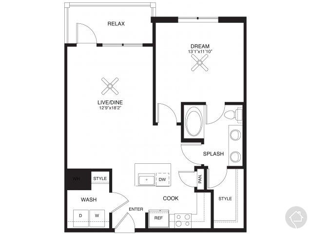 1/1 805 sqft floor plan