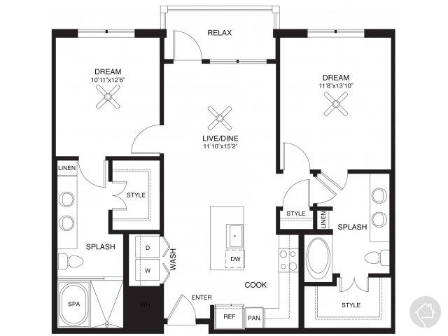 2/2 1099 sqft floor plan