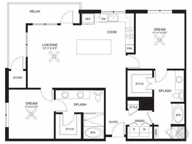 2/2 1251 sqft floor plan